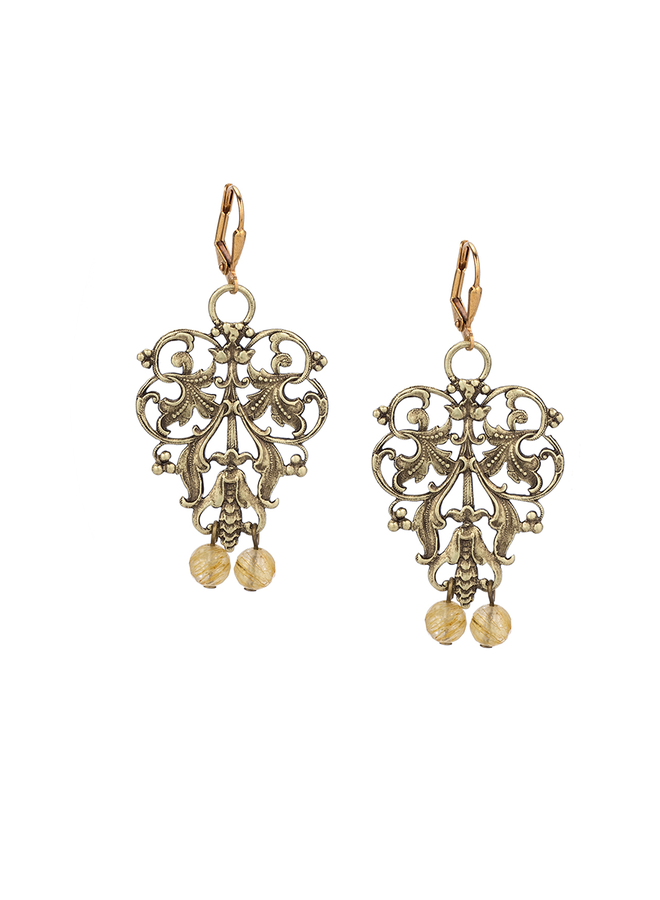 French Kande Brass French Filigree Earrings In Golden