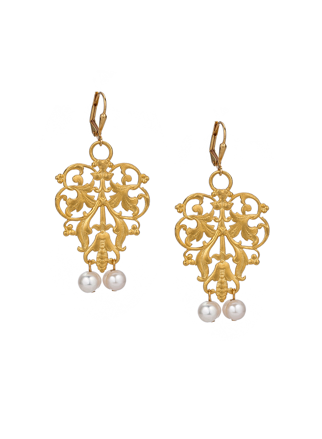 French Kande Gold French Filigree Earrings With Pearls
