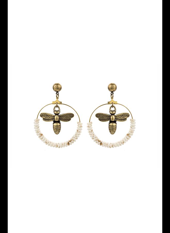 French Kande Brass Miel & Bone Hoop Earrings
