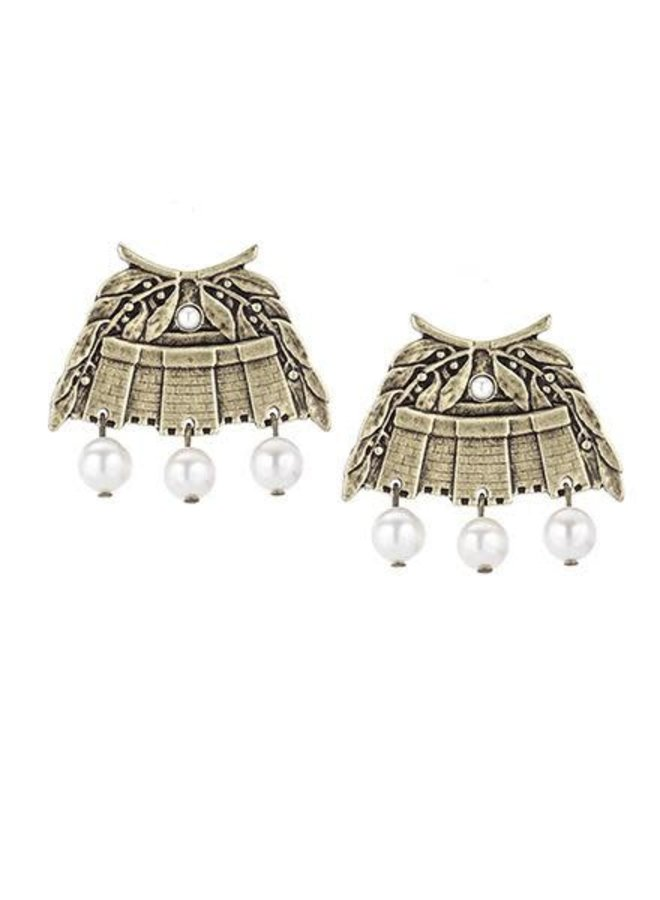 French Kande Brass Chateau Earrings & Pearls