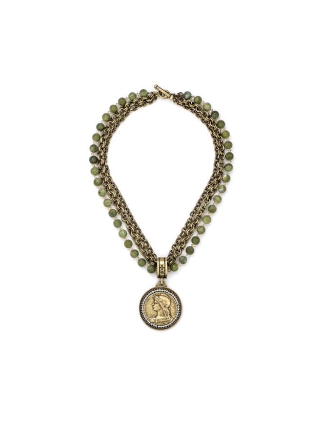 "French Kande 38"" Jade & Chemins Medallion & Crystals"