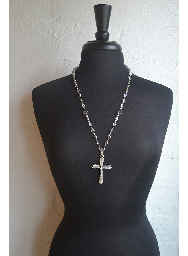 French Kande Seaside Mix & Swarovski FDL Channel Cross