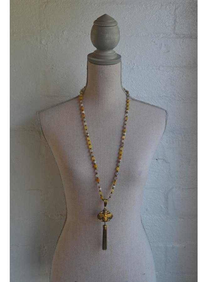 "French Kande 34"" Golden Mix, Topaz Cabs, & Meil Pendant Tassel"