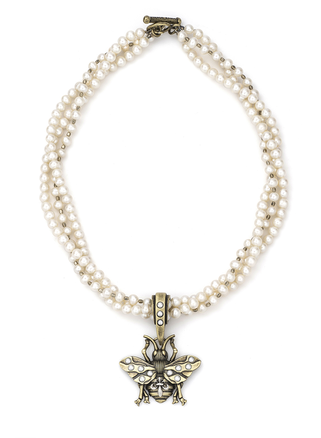 French Kande 17' Triple Pearls & Bee Necklace