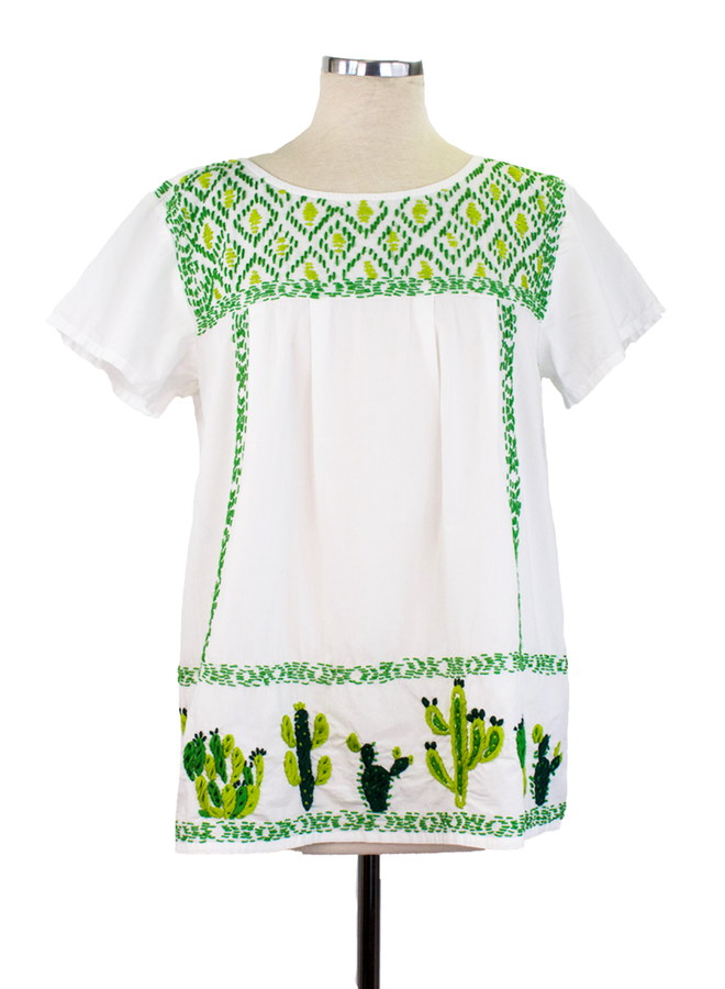 Sister Mary Lupita Cactus Top In White