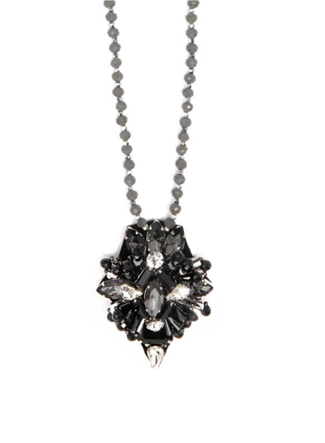 Black Gemstone Flower Pendant