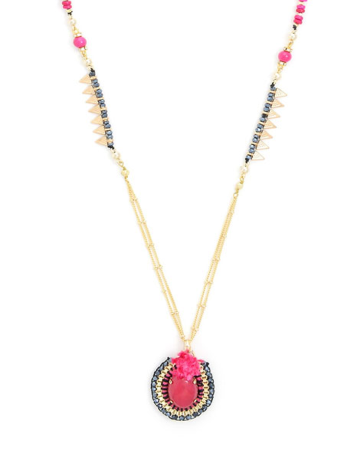 Dancing Stones Long Necklace In Pink