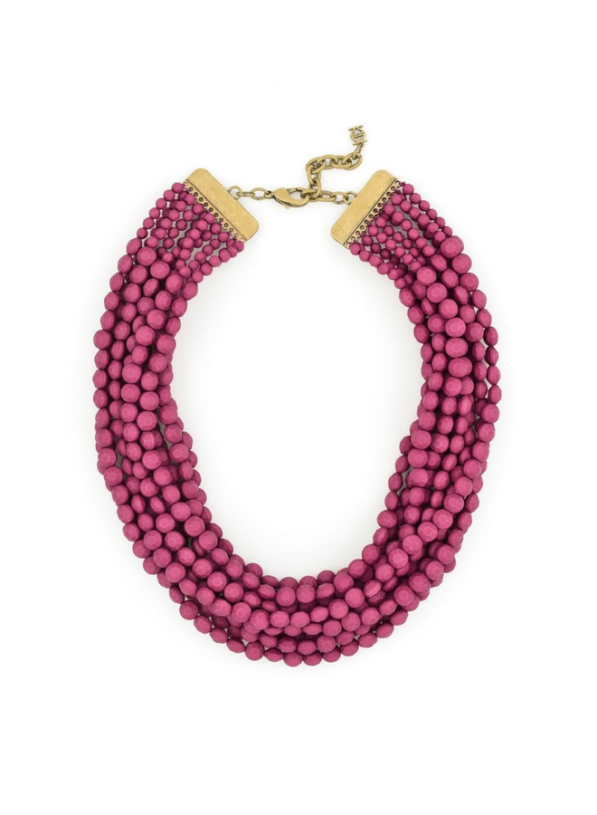 Multi Strand Matte Necklace In Plum
