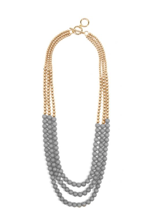 Triple Gold & Grey Necklace