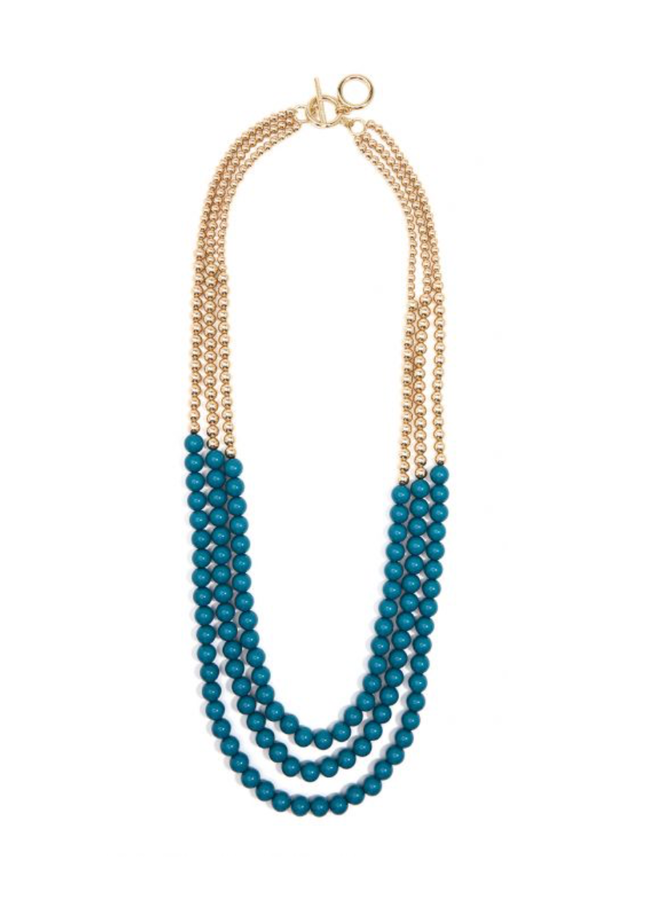 Triple Gold & Teal Necklace