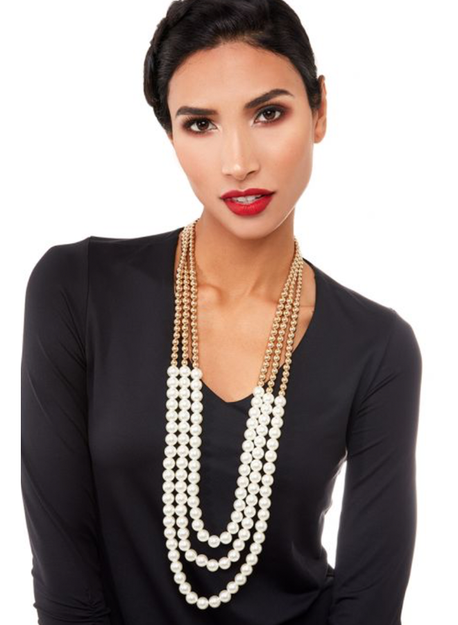 Triple Gold & Pearl Necklace