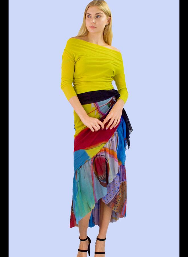 Petit Pois Wrap Around Skirt In Oasis