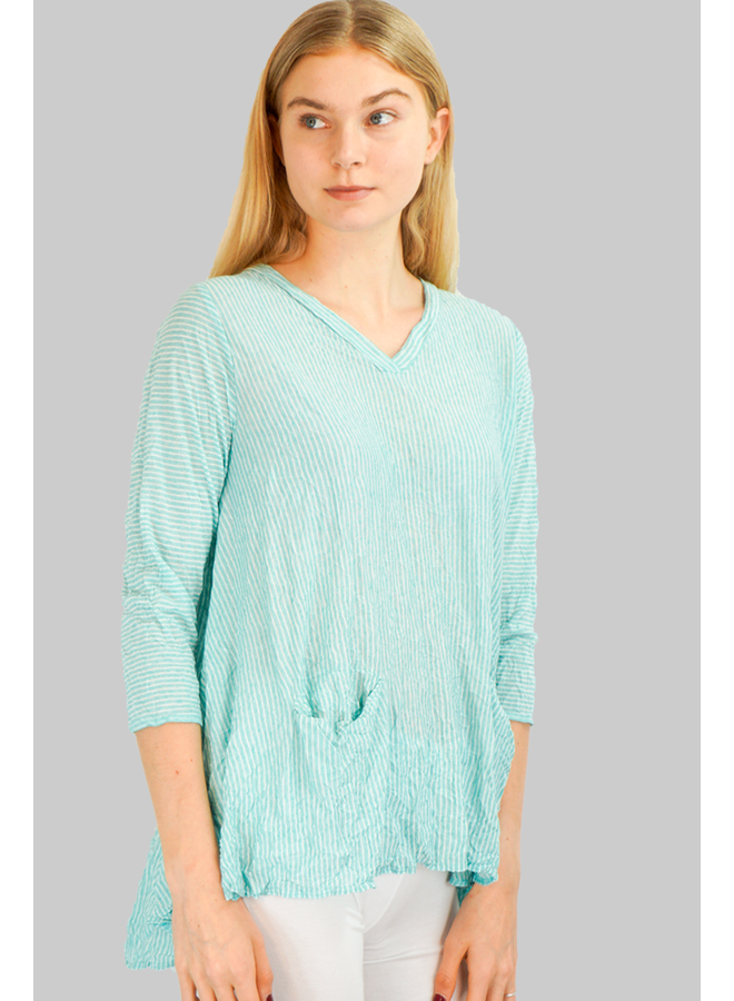 Comfy Vicki Tunic In Jade Stripe
