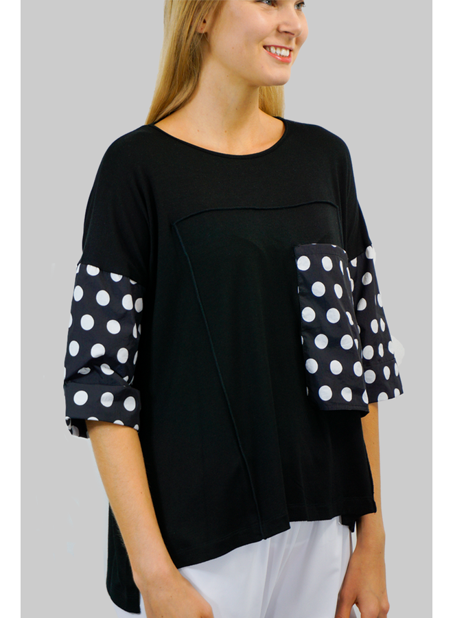 Comfy's Jason Greta Tunic In Black & Dot