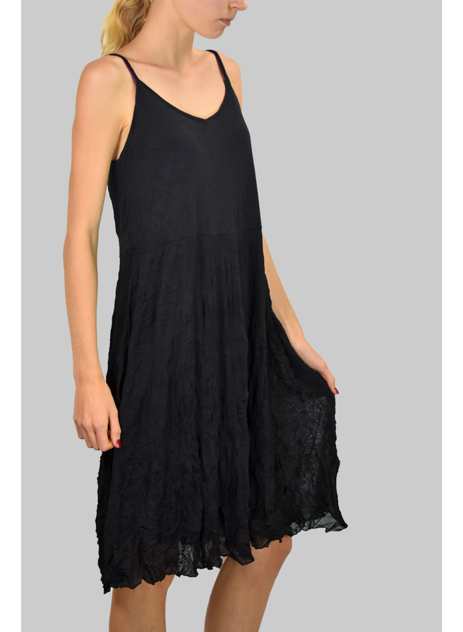 Comfy's Alana Tank Dress In Black Crinkle Mesh