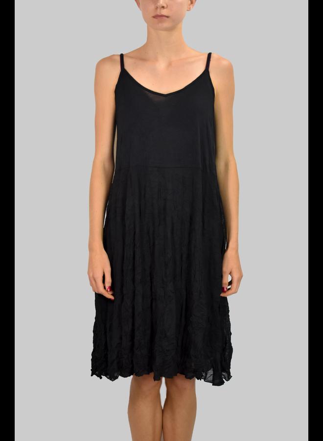 Comfy's Alana Tank Dress In Black Crinkle Mesh