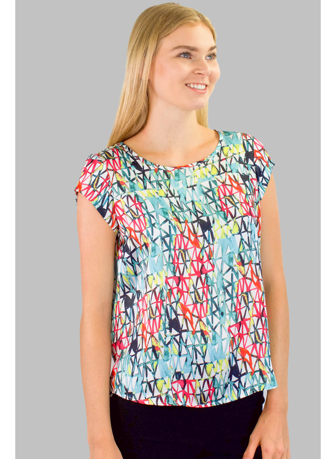 Renuar's Azure Combination Print Top