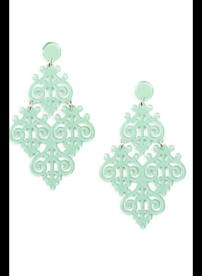 Resin Emblem Statement Earrings In Mint
