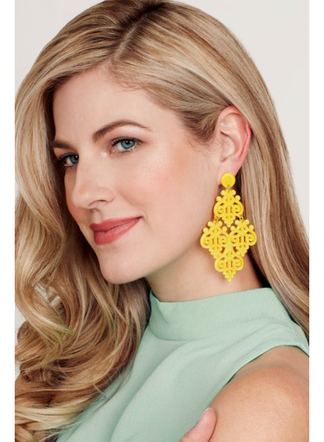 Resin Emblem Statement Earrings In Yellow