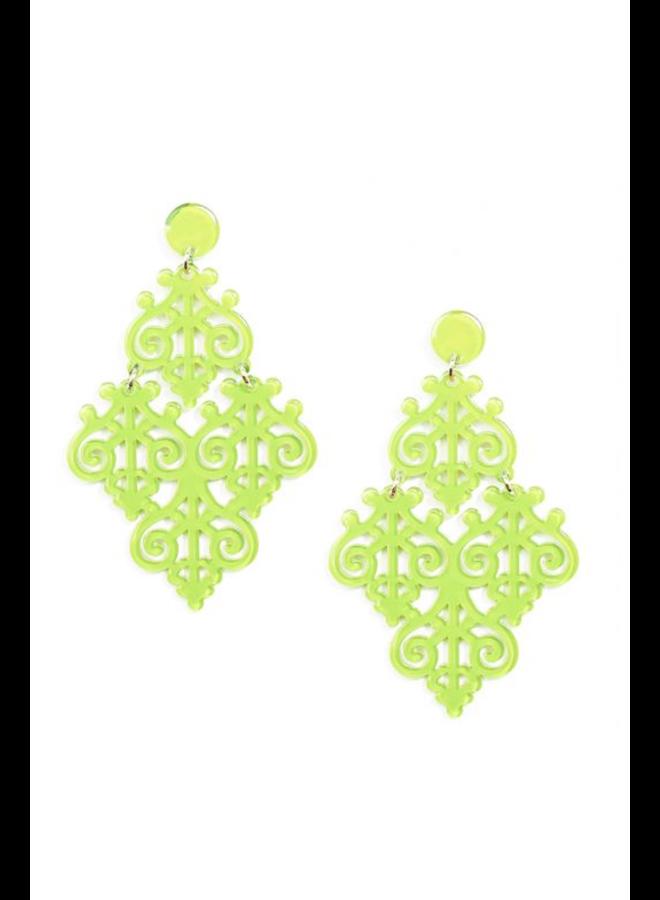 Resin Emblem Statement Earrings in Lime