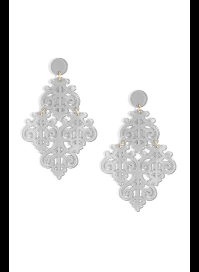 Resin Emblem Statement Earrings In Grey