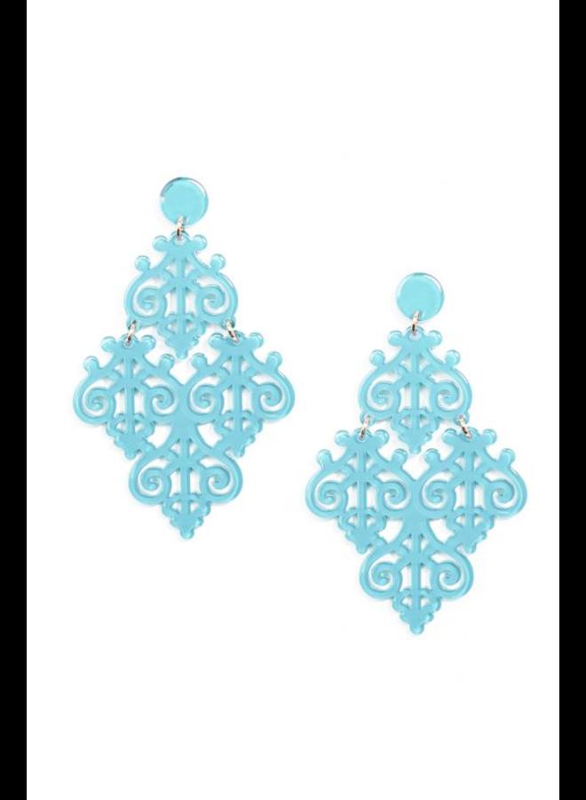 Resin Emblem Statement Earrings In Bright Blue