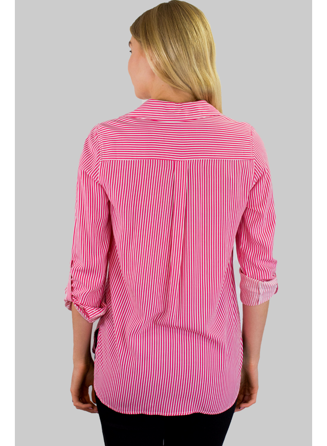 Renuar's Big Pocket Shirt In Blossom Stripe