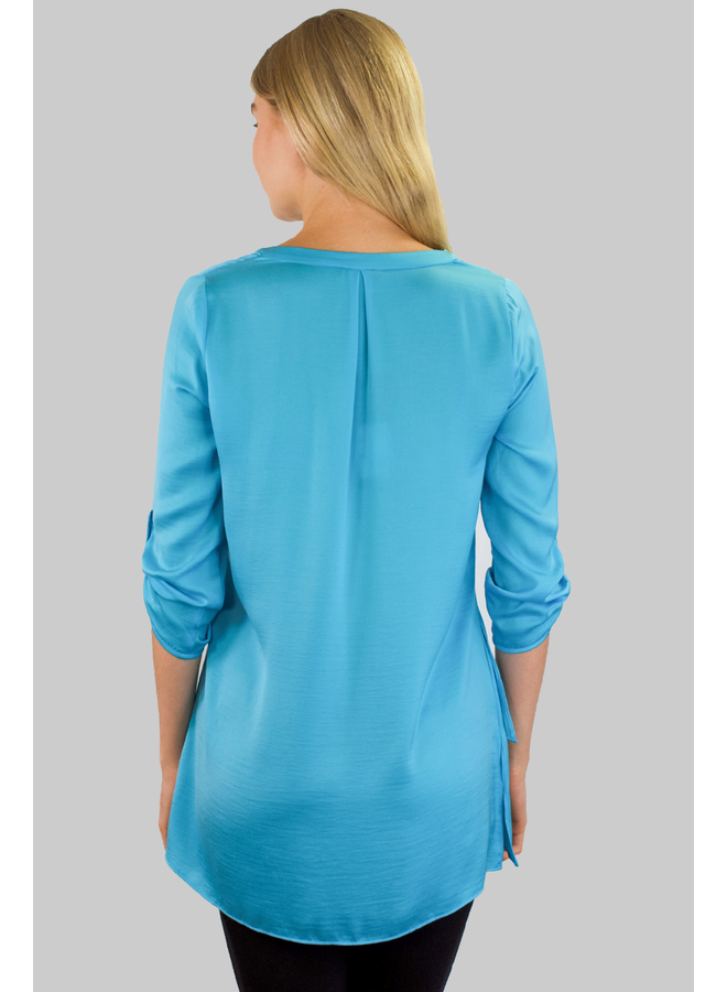 Renar's Soft As Silk Blouse In Azure