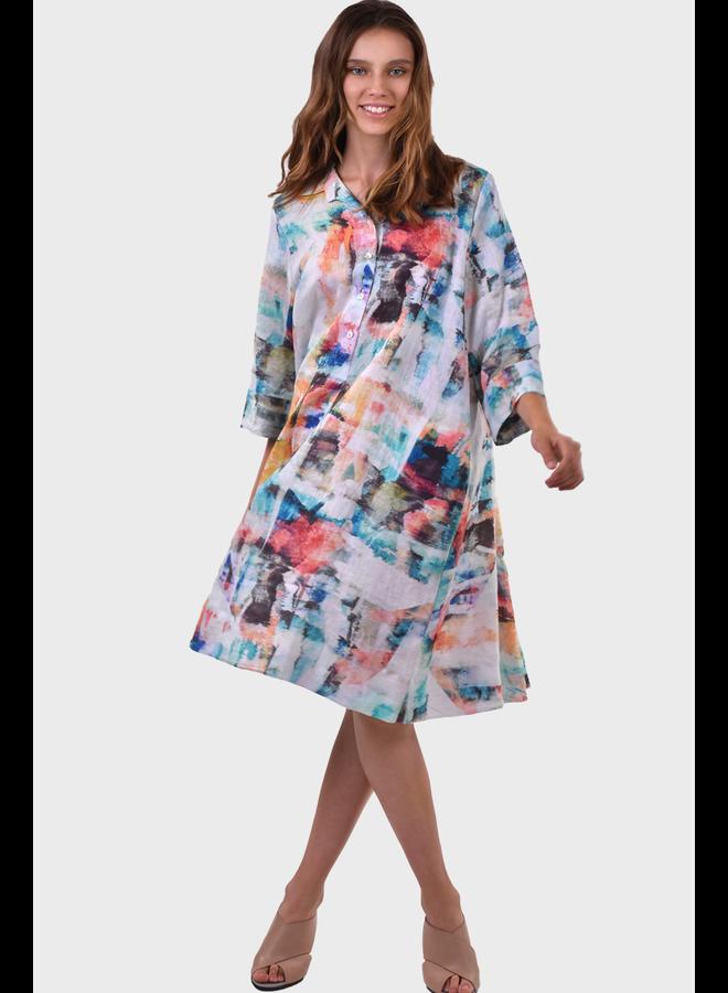 Alembika Linen Brushstroke Shirt Dress