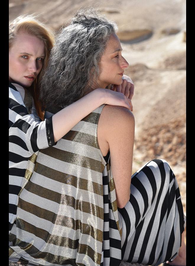 Alembika Punto Pant In Black & Silver Stripe