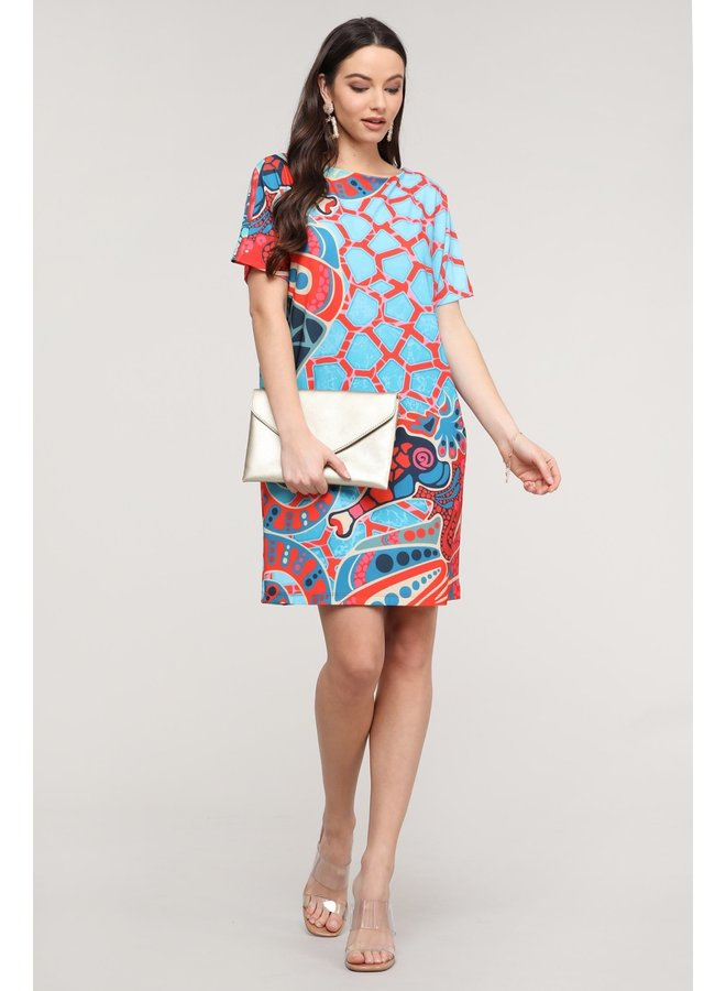 Coral Abstract Dress