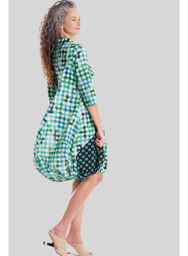 Alembika Gingham Wonderful Dress In Lagoon