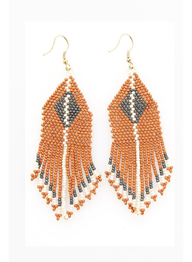 Ink + Alloy Diamond Fringe Seed Bead Earring In Rust