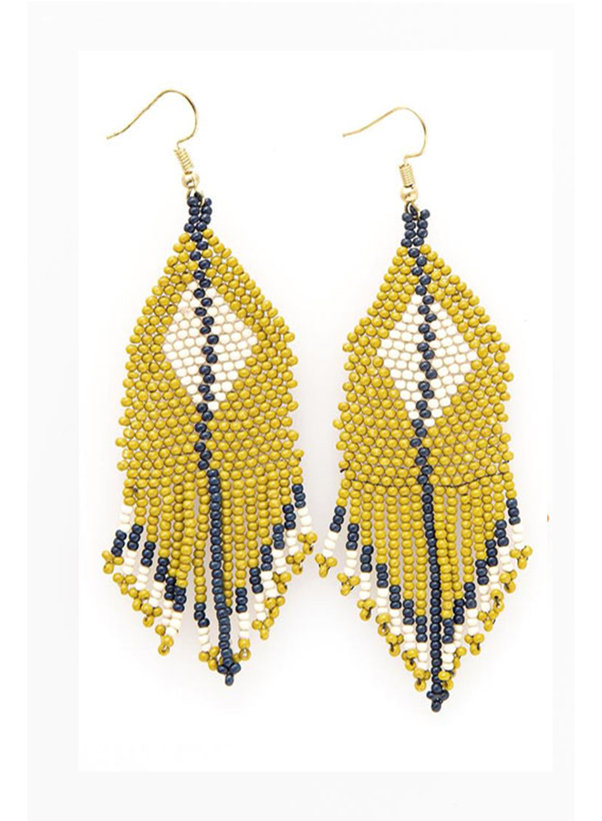 Ink + Alloy Diamond Fringe Seed Bead Earrings In Citron