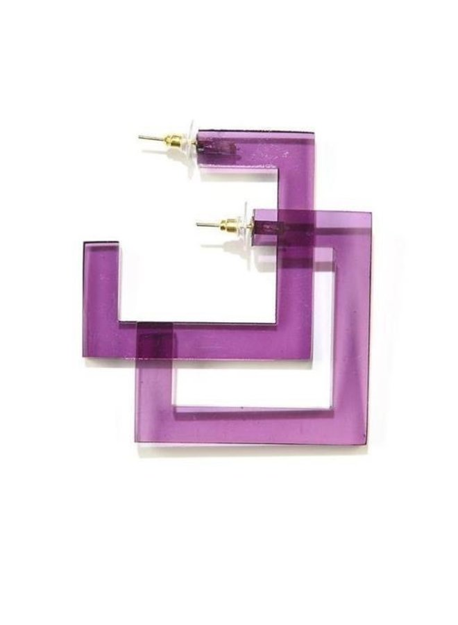 Ink + Alloy Square Lucite Hoops In Eggplant