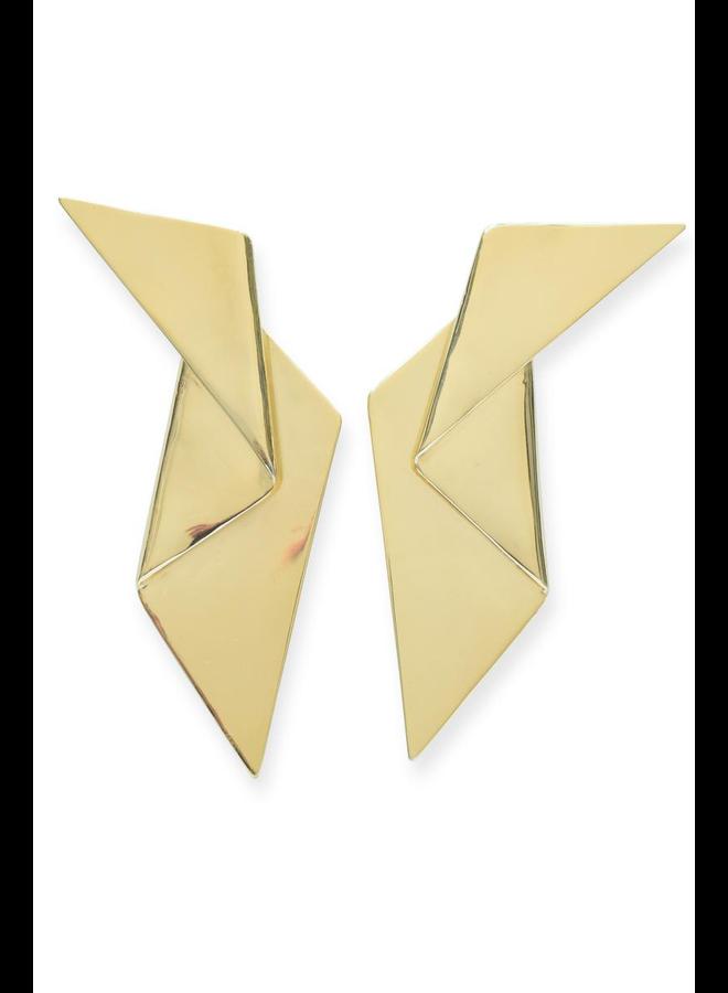 Ink + Alloy Brass Origami Earrings