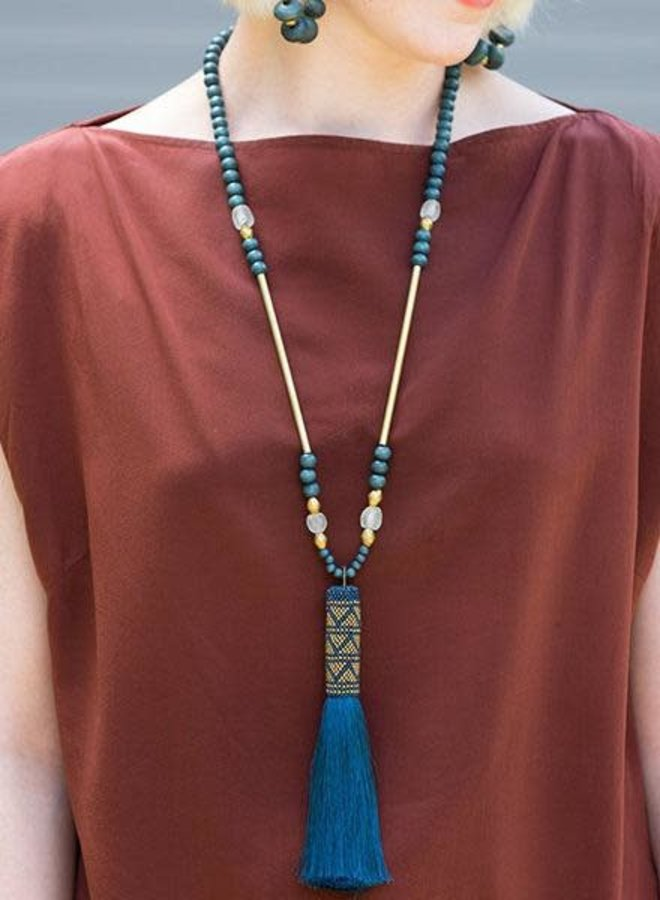 Ink + Alloy Teal Beaded Tassel Necklace