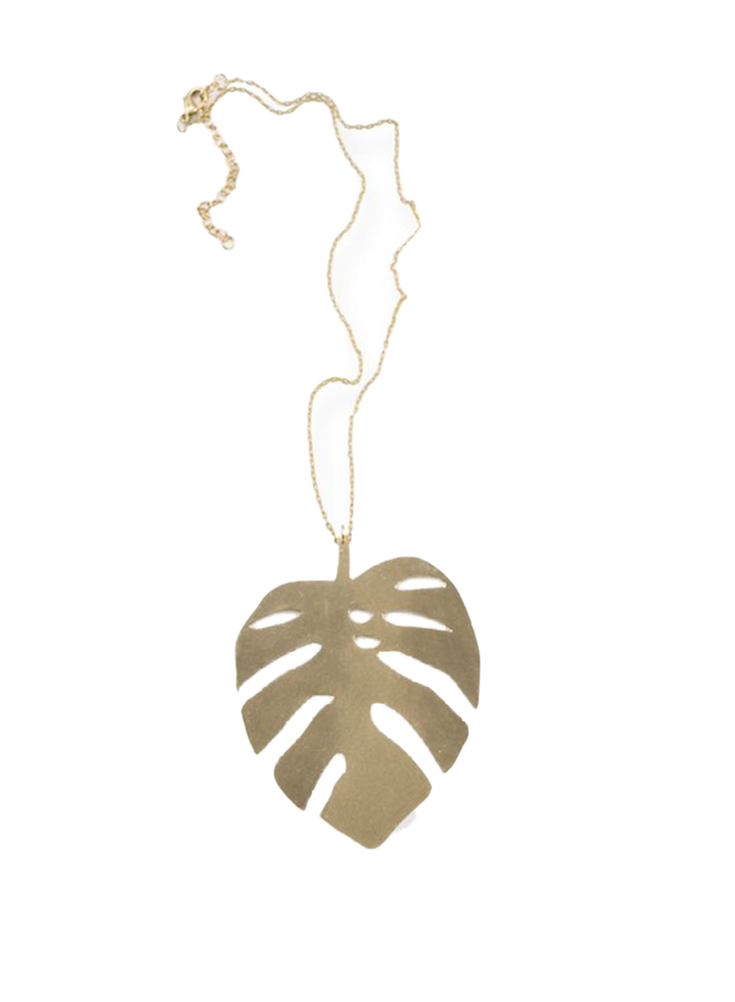 Ink + Alloy Monstera Leaf Brass Necklace