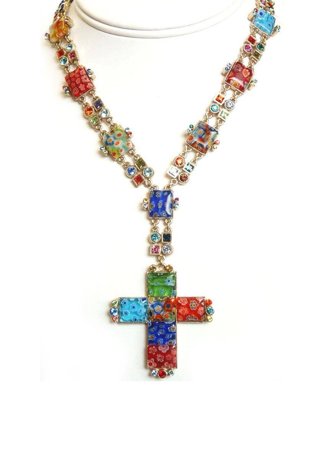 Sweet Romance Millefiori Cross Necklace