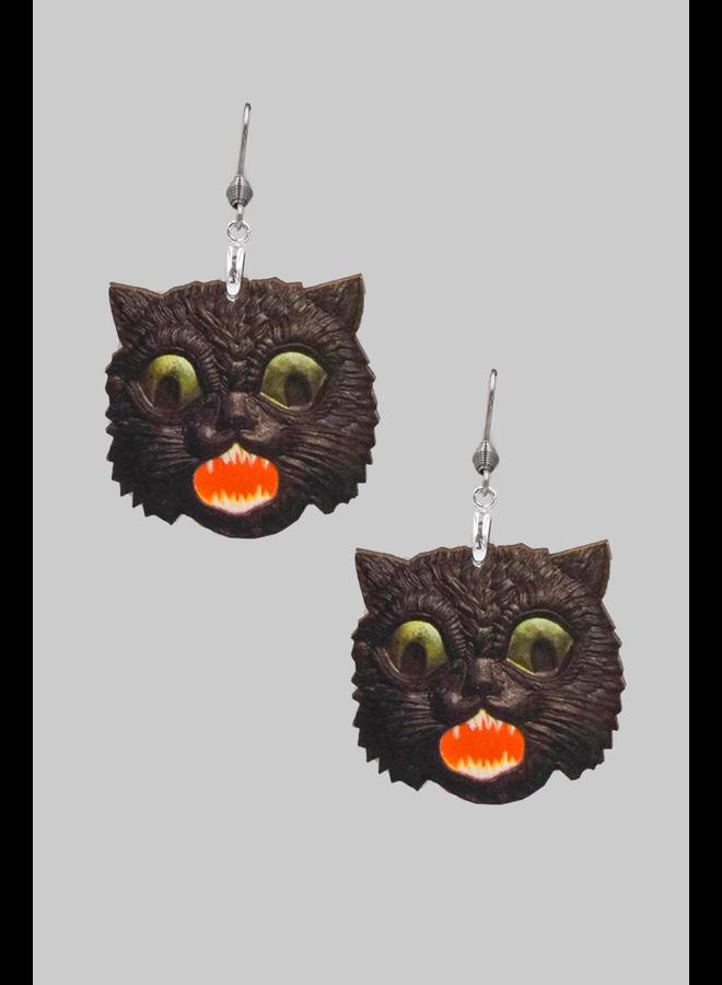 Creepy Black Cat Earrings