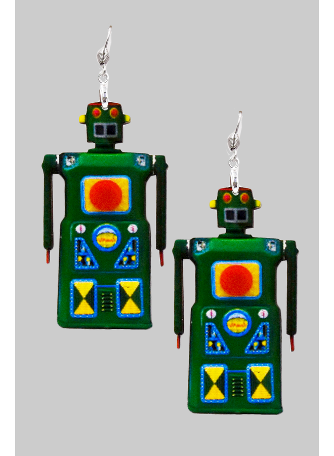 Green Robot Earrings