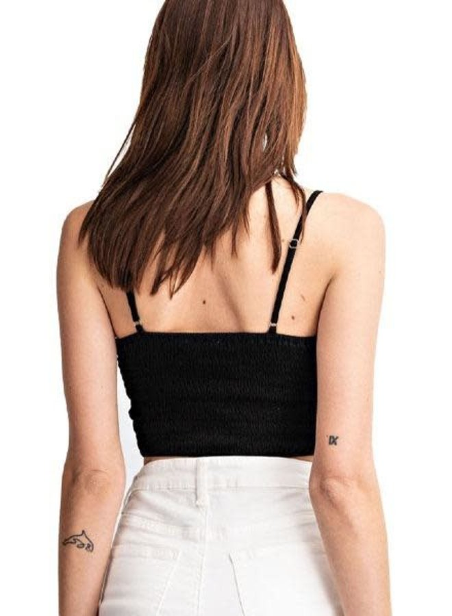 Lace Smocking Cami/Bra In Black