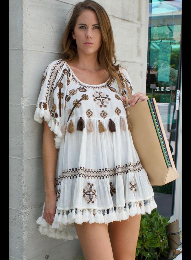 Area Stars Mystique Tunic Dress In Brown & White