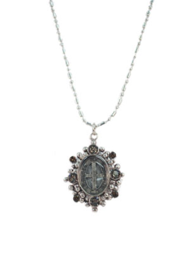 Virgins, Saints & Angels San Benito Oval Charm In Silver and Greige Quartz