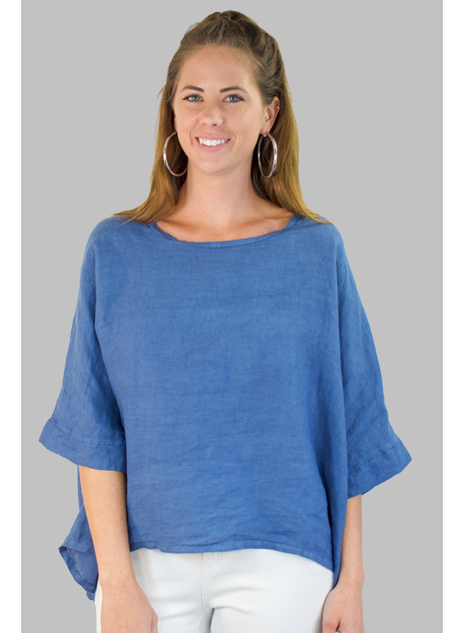 Italian Linen Box Top In Denim Blue