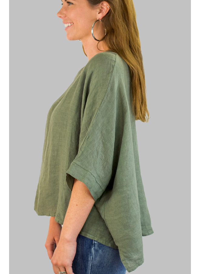 Italian Linen Box Top In Olive