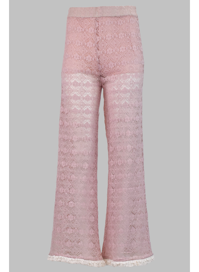 Lace Pom Pom Pants In Pink
