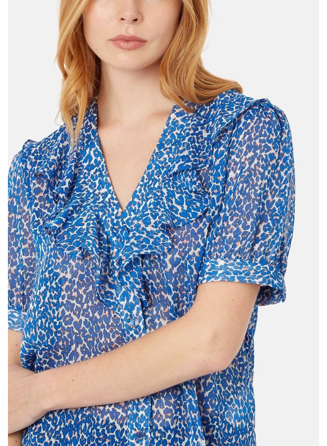 Traffic People Ruffle Top In Blue