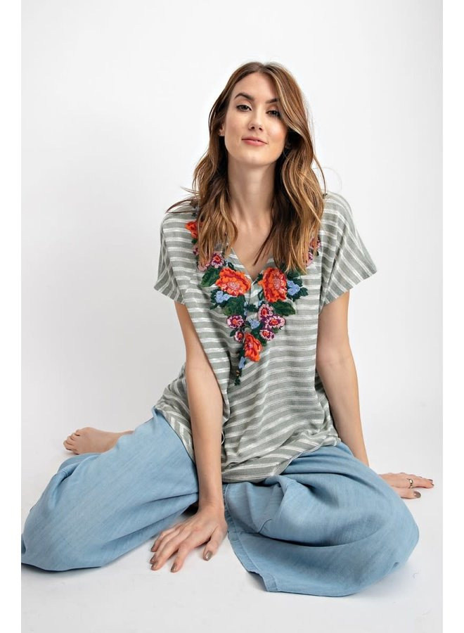 Embroidered Cross Top