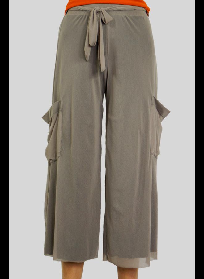 Petit Pois Cropped Wide Leg Pant in Khaki